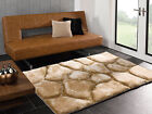 SOFT THICK SHAGGY PILE 3D STEPPING STONES NATURAL VERGE BROOK GOLDEN BEIGE RUG