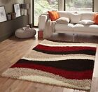 SMALL - EXTRA LARGE BROWN RED IVORY THICK WAVES STRIPES SHAGGY LUXURY MODERN RUG