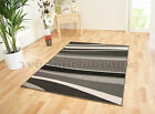 SMALL - EXTRA LARGE GREY BLACK HORIZON WAVE MODERN FUNKY STRIPED CHEAP SOFT RUG
