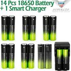 14pcs 3.7v 18650 Battery Rechargeable Li-ion For Flashlight+Dual Charger