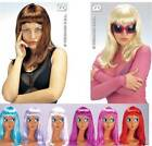 Long Straight Wig NEON RED Cleopatra Drag Queen Fancy Dress