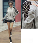 Women Leopard Batwing Long Sleeve Blouses Pullover Tops T Shirt Mini Dress