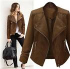 Plus Size Retro Womens Rider Motorcycle Fuax Leather Jackets Zipper Coats
