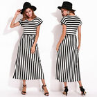 2017 UK 8-26 Womens Ladies Casual Round Neck Striped Robe Summer Long Maxi Dress