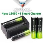 12Pcs 18650 3.7V 5800mAh Rechargeable Li-ion Battery + Charger For Flashlight b