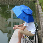 Foldable Outdoor Double Wind Rain Fishing Camping Umbrella Wearing Hat Beach Sun