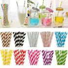 25-100PCS Biodegradable Paper Drinking Straws Striped Birthday Party Wedding UP