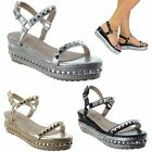 LADIES WOMENS LOW WEDGE STUD ESPADRILLE PLATFORMS ANKLE STRAP SANDALS SIZE