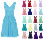 Lace Formal Knee Length Wedding Prom Ball Evening Bridesmaid Dress Size 6--18