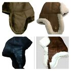 Real Sheepskin Shearing Leather Bomber Trapper Hanukkahs Hunting Fur Hat M-3XL