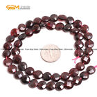 """Natural 8mm Faceted Coin Genuine Red Garnet Gemstone Beads Jewelry Making 15"""""""