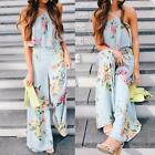 Womens Strap Floral  Sleeveless Jumpsuit Wide Leg Pants Playsuit Romper Trousers