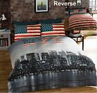 Bedding Heaven® REVERSIBLE NEW YORK CITY SKYLINE/AMERICAN FLAG DUVET COVER SET