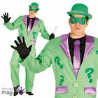 Adults Mens Riddler Suit Fancy Dress Question Mark Villain Fancy Dress Costume