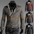 Men's PU Genuine Leather Jacket fashion fit Biker Motorcycle jacket Outwear