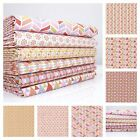 PEACH / PINK - PLAYTIME GEOMETRIC 100% COTTON fabric METRE FQ BUNDE okeo-tex