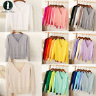 Womens Autumn V Neck Long Sleeve Ladies Soft Knit Button Blouses Cardigan Tops