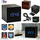 Digital LED Wooden Wood Desk Alarm Clock Snooze Voice Control Timer Thermometer