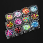 12 Colors Nail Art Tips Stickers Star Mix 3D Shiny Glitter Sequins Manicure DIY