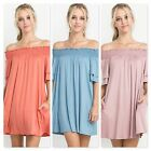 Womens Modal Fabric Smocked Off The Shoulder Pocket Dress 3 Colors S M L New