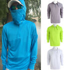 Sport Mens Long Sleeve Fishing Sun Shirt Quick Dry Breathable Hooded Top w/ Mask