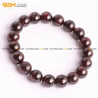 Womens Mens Natural Round Red Garnet Stone Handmade Adjustable Bracelet 7 1/2""