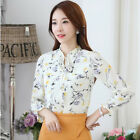 Stylish Women Floral Print Long Sleeve Lace Up Chiffon Ladies Blouse Tops Shirt