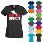 JUST GET OVER IT Showjumping Racing Horse Riding Jockey New Ladies T Shirt Top