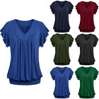 Plus Size Women's Summer V Neck Short Sleeve Shirt Top Loose Casual Blouse S-5XL