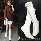 Fashion Zip Deocr Chunky Block Heels White Winter Warm Knee High Boots Shoes