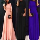 Womens Chiffon 3/4 Sleeve Evening Formal Party Prom Ball Gown Long Maxi Dress