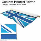 1 BLUE UNION JACK PER METRE FABRIC LYCRA SATIN JERSEY CHIFFON PRICES FROM £15.99