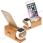 3in1 Bamboo Charge Dock Stand Holder For A pple Watch i Phone 7 Plus i Pad Air 2