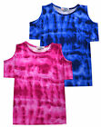 Girls Tie Dye T Shirt New Kids Cold Shoulder Top Pink Blue Ages 5 - 13 Years