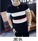 Mens Summer T-shirt Tee Tops Striped Slim Fit Casual Fashion Korea Blouse Short