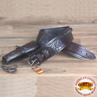 HILASON WESTERN RIGHT HAND GUN HOLSTER RIG 44/45 CAL TOOLED LEATHER COWBOY