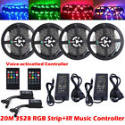 5M 10M 20M 3528 RGB LED Strip Lights Tape +20key Music IR Remote + Power Adapter