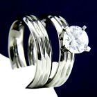 Engagement Ring Womens Stainless Steel Bridal Simulated Diamond Wedding Band Set