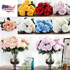 US STOCK Artificial Silk Rose Flower Bouquet Room Wedding Party Home Decoration
