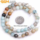 New Mixed Color Amazonite Stone Big Large Hole 2mm Beads for Jewelry Making 15''