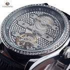 Mens Automatic Mechanical Watches Bling Rhinestone Leather Fashion Crystal Face