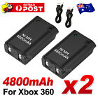 2x For Xbox 360 Battery Charger Pack Wireless Rechargeable Controller USB Cable