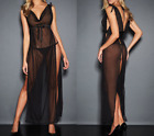 FREDERICK'S OF HOLLYWOOD Kate Draped Satin and Mesh Gown NEW NWT