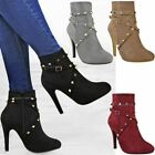 New Womens Ladies Studded Ankle Boots Strappy High Heels Stilettos Party Shoes