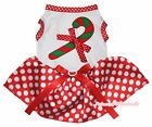 Xmas Candy Cane White Top Red Minnie Dots Tutu Pet Cat Dog Dress Puppy Clothes
