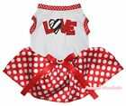 Valentine Zebra Love White Top Red Minnie Dots Tutu Pet Dog Dress Puppy Clothes