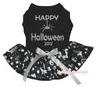 Happy Halloween 2017 Black Top Silver Pumpkin Skull Tutu Pet Cat Dog Puppy Dress
