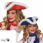 Ladies Pirate Hat Marabou Trim Tricorn Caribbean Buccaneer Fancy Dress Accessory