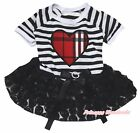 Valentine Plaid Heart Striped Top Black Rose Tutu Pet Dog Dress Puppy Clothes
