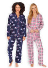 Ladies Classic PJ Set New Womens Fleece Winter Button Down Pyjamas UK 8 - 22
